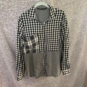 Zara TRF Gingham Plaid Button Down Shirt Sz M